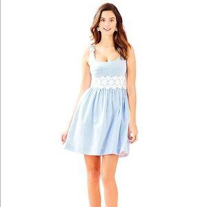 NWT Lilly Pulitzer Tessa Dress Seersucker Blue 10